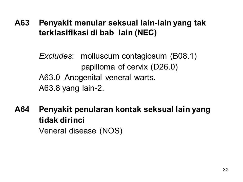A63. Penyakit menular seksual lain-lain yang tak