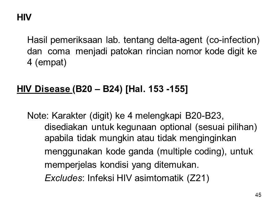 HIV Hasil pemeriksaan lab. tentang delta-agent (co-infection) dan coma menjadi patokan rincian nomor kode digit ke 4 (empat)