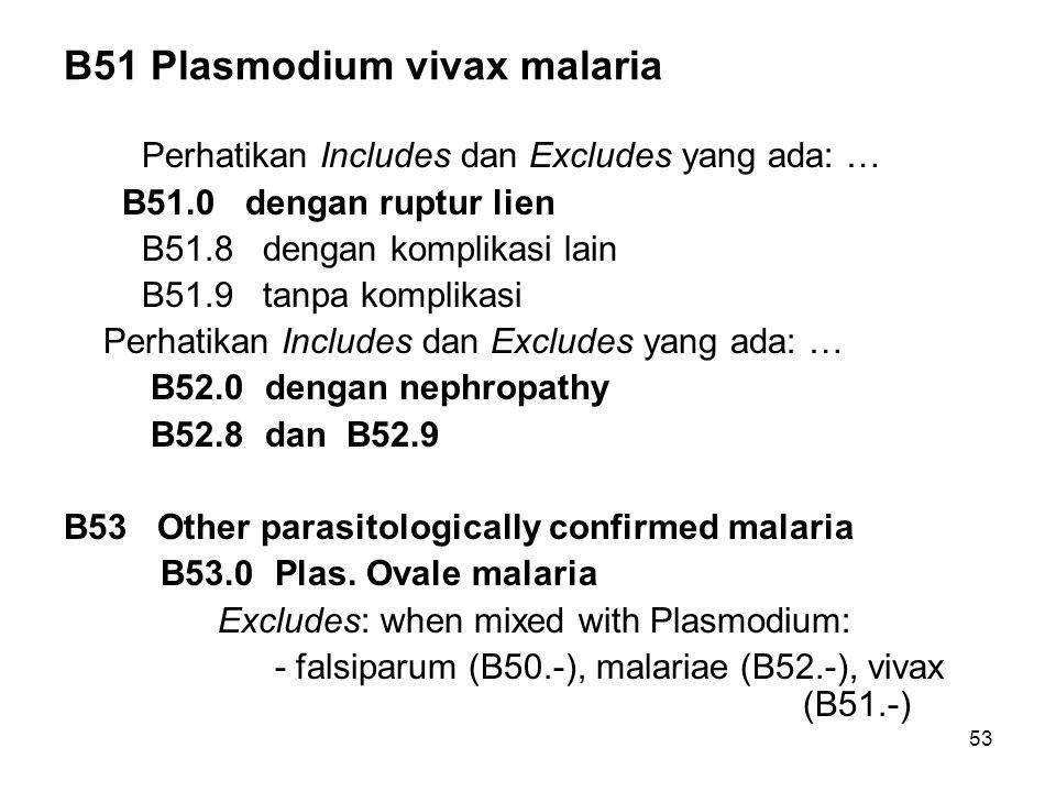 B51 Plasmodium vivax malaria