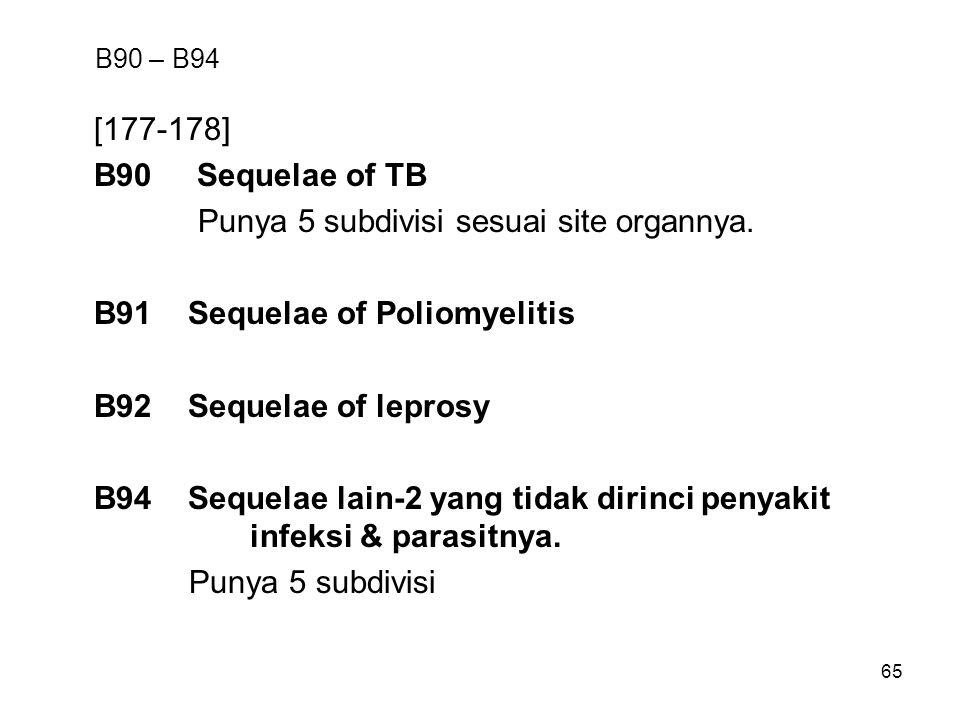 Punya 5 subdivisi sesuai site organnya. B91 Sequelae of Poliomyelitis