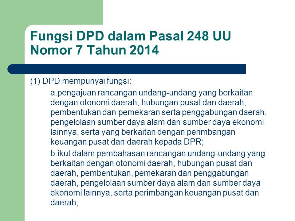 Fungsi DPD dalam Pasal 248 UU Nomor 7 Tahun 2014
