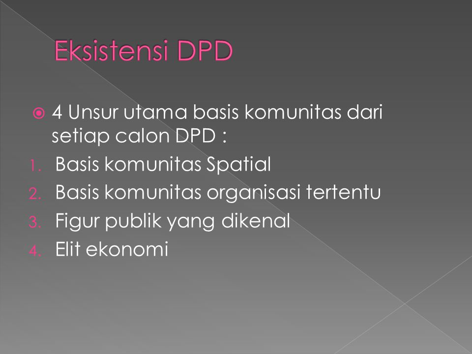 Eksistensi DPD 4 Unsur utama basis komunitas dari setiap calon DPD :