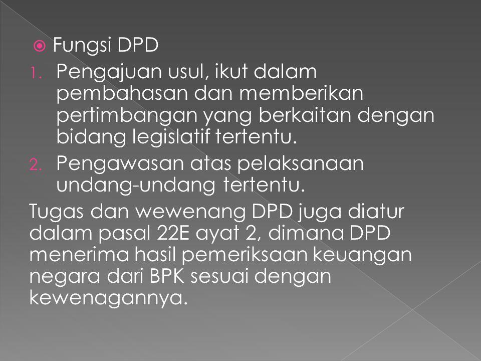 Fungsi DPD Pengajuan usul, ikut dalam pembahasan dan memberikan pertimbangan yang berkaitan dengan bidang legislatif tertentu.