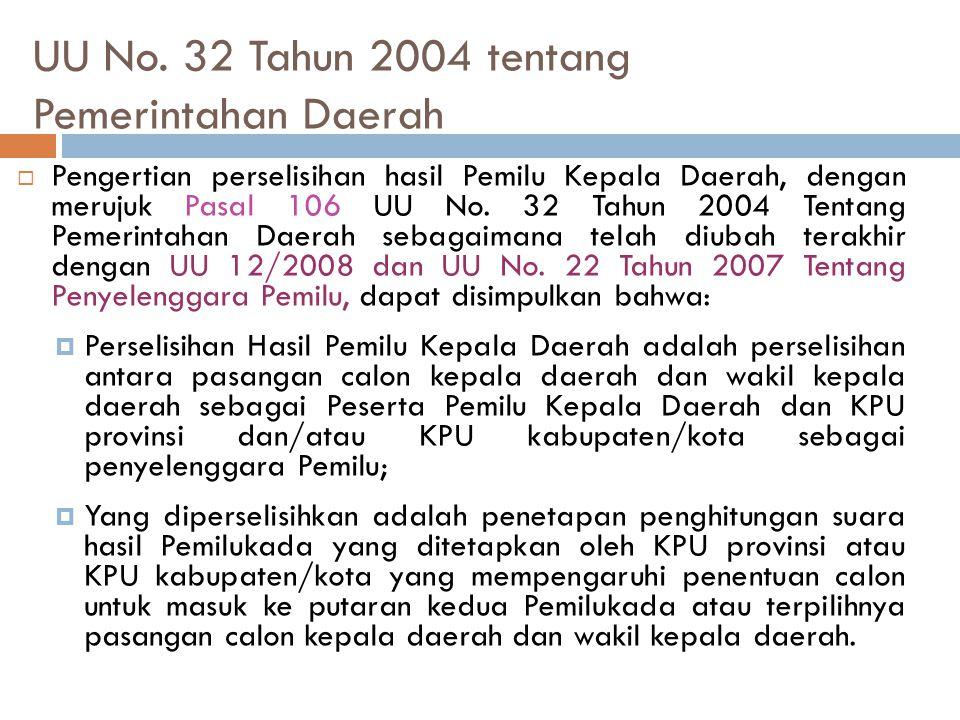 UU No. 32 Tahun 2004 tentang Pemerintahan Daerah