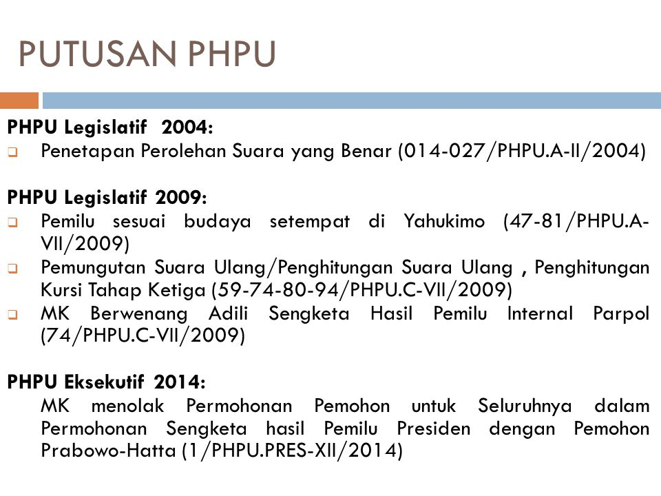 PUTUSAN PHPU PHPU Legislatif 2004: