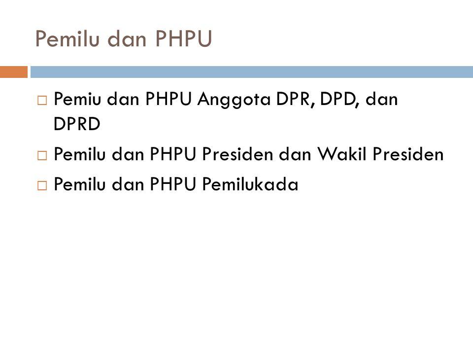 Pemilu dan PHPU Pemiu dan PHPU Anggota DPR, DPD, dan DPRD