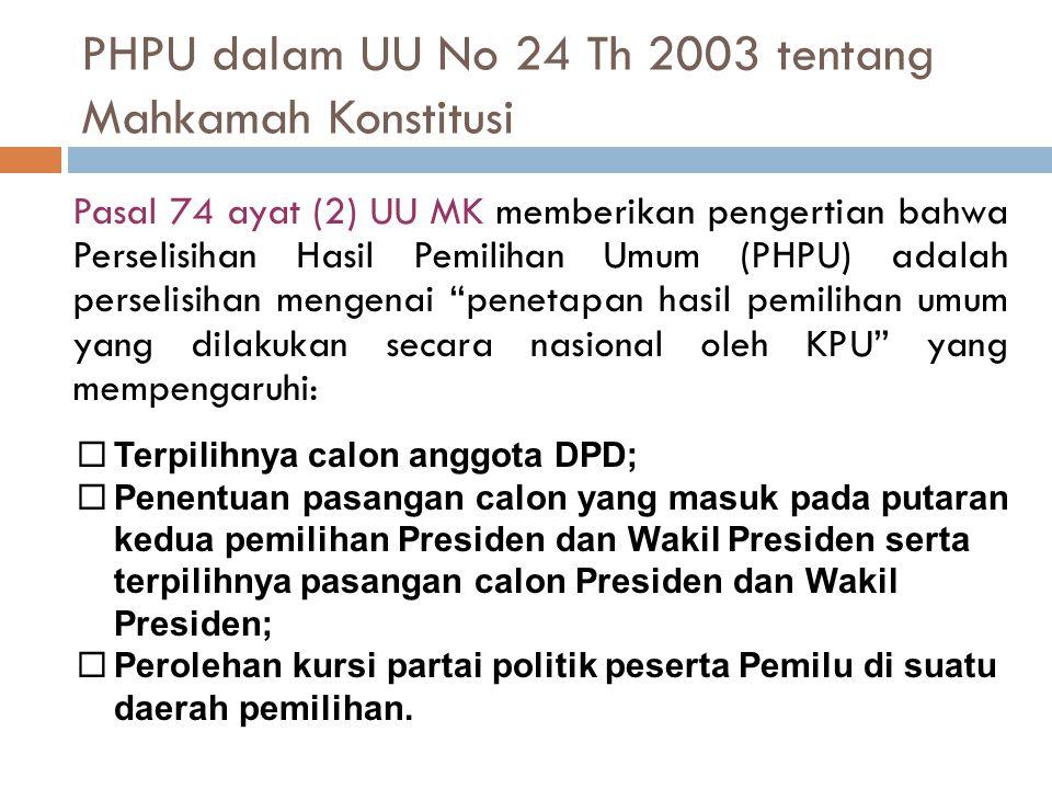 PHPU dalam UU No 24 Th 2003 tentang Mahkamah Konstitusi