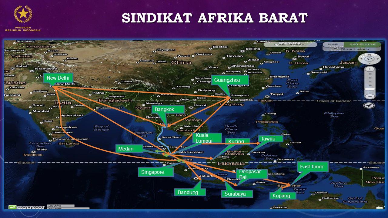 Sindikat afrika barat New Delhi Guangzhou Bangkok Kuala Lumpur Tawau
