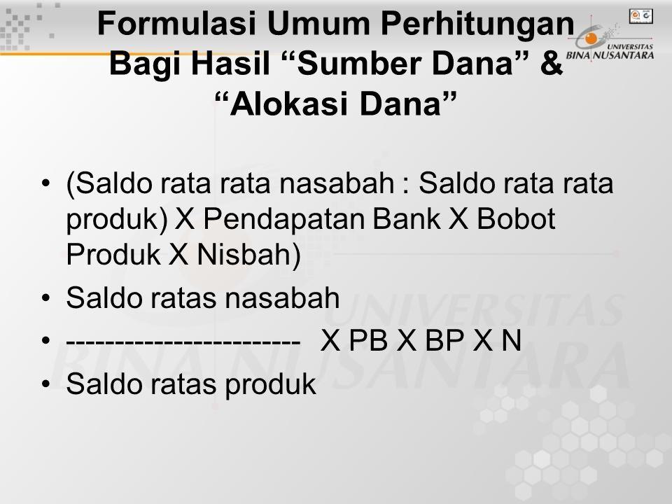 Formulasi Umum Perhitungan Bagi Hasil Sumber Dana & Alokasi Dana