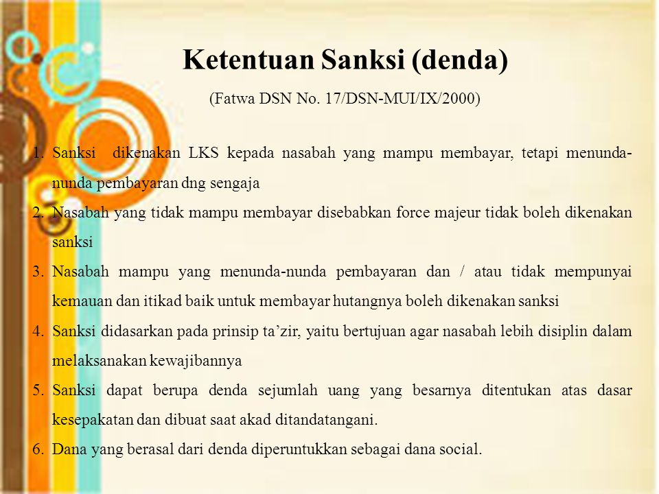 Ketentuan Sanksi (denda) (Fatwa DSN No. 17/DSN-MUI/IX/2000)
