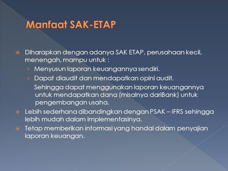 Manfaat SAK-ETAP Diharapkan dengan adanya SAK ETAP, perusahaan kecil, menengah, mampu untuk : Menyusun laporan keuangannya sendiri.
