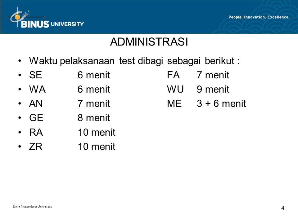 ADMINISTRASI Waktu pelaksanaan test dibagi sebagai berikut :
