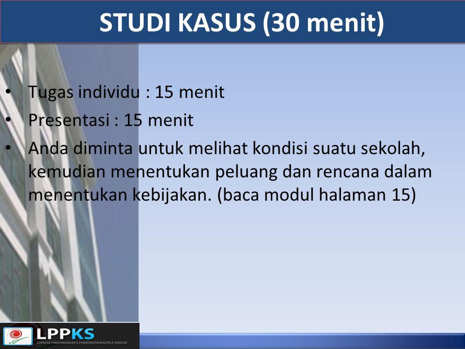 STUDI KASUS (30 menit) Tugas individu : 15 menit Presentasi : 15 menit