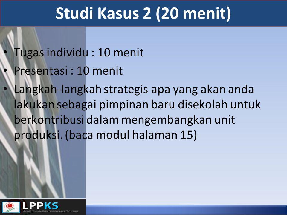 Studi Kasus 2 (20 menit) Tugas individu : 10 menit