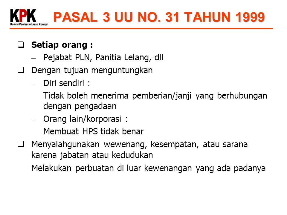 PASAL 3 UU NO. 31 TAHUN 1999 Setiap orang :