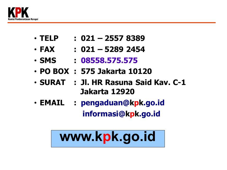 www.kpk.go.id TELP : 021 – 2557 8389 FAX : 021 – 5289 2454