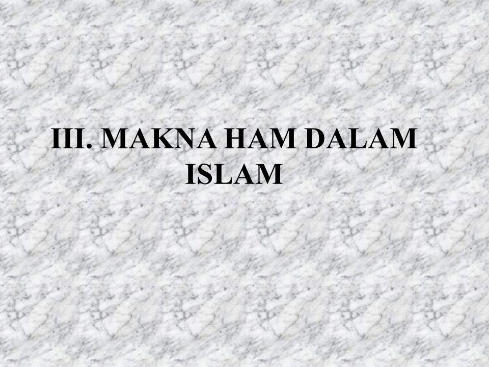 III. MAKNA HAM DALAM ISLAM