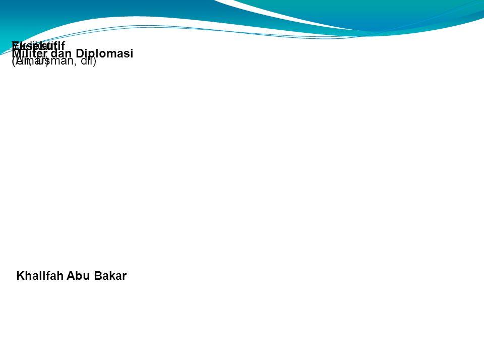 Khalifah Abu Bakar Eksekutif (Ali, Usman, dll) Yudikatif (Umar) Militer dan Diplomasi