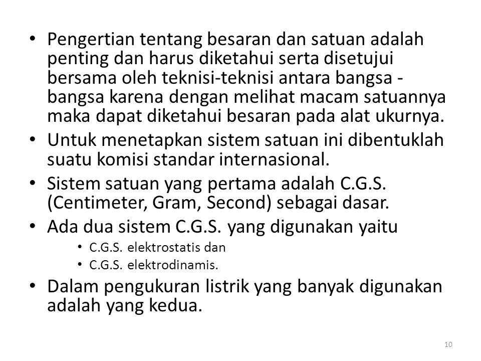 Ada dua sistem C.G.S. yang digunakan yaitu