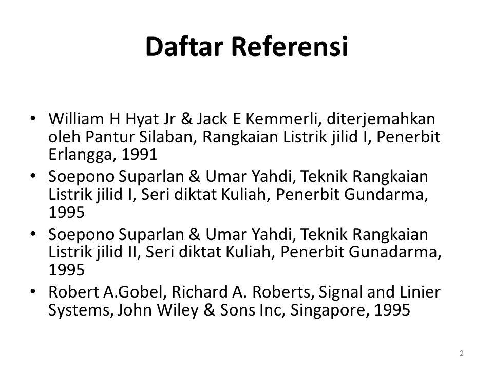 Daftar Referensi William H Hyat Jr & Jack E Kemmerli, diterjemahkan oleh Pantur Silaban, Rangkaian Listrik jilid I, Penerbit Erlangga, 1991.