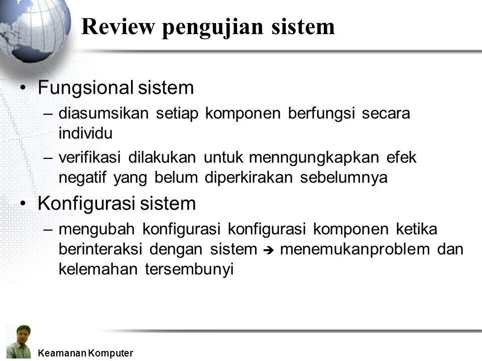 Review pengujian sistem