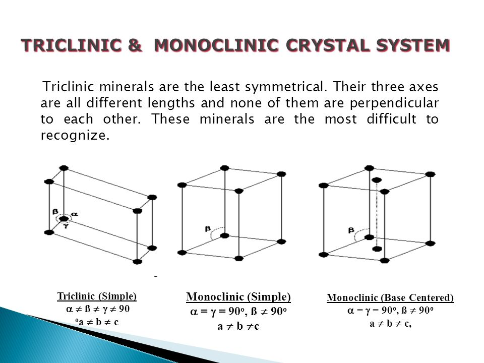 TRICLINIC & MONOCLINIC CRYSTAL SYSTEM