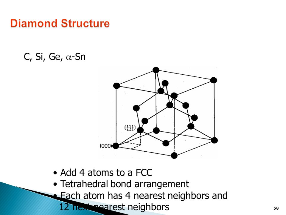 Diamond Structure C, Si, Ge, a-Sn Add 4 atoms to a FCC