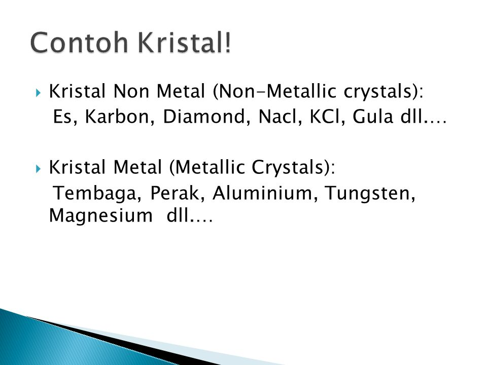 Contoh Kristal! Kristal Non Metal (Non-Metallic crystals):