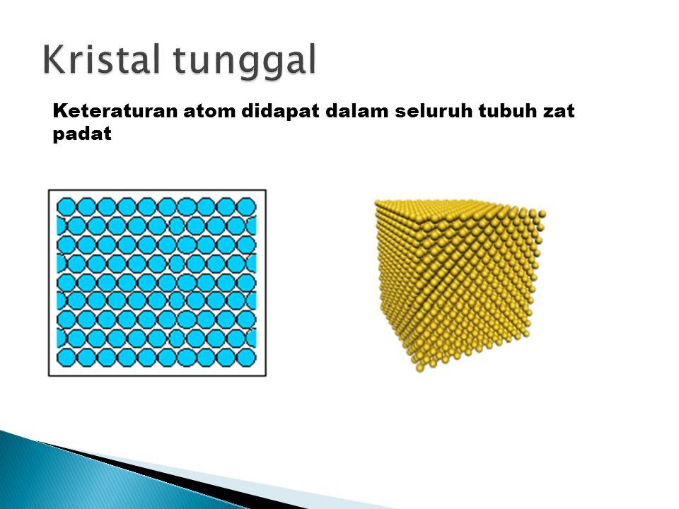 Kristal tunggal Keteraturan atom didapat dalam seluruh tubuh zat padat
