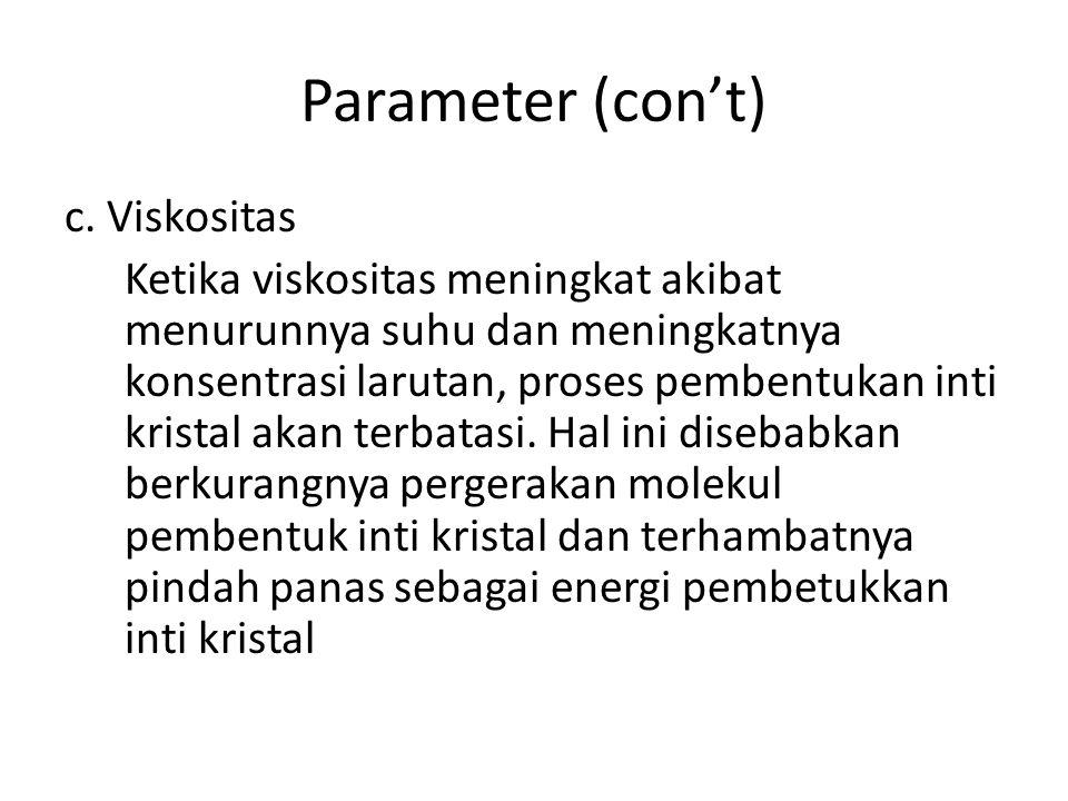 Parameter (con't) c. Viskositas
