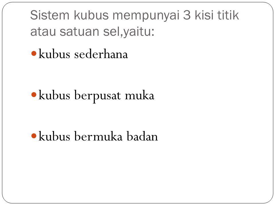 Sistem kubus mempunyai 3 kisi titik atau satuan sel,yaitu: