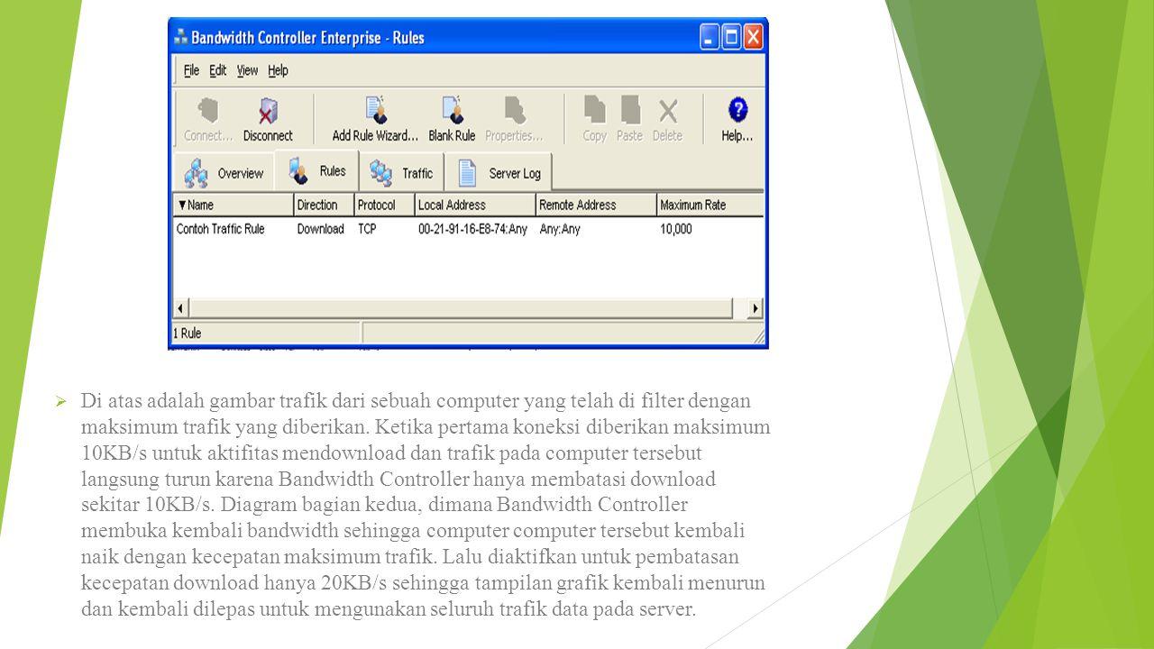 Di atas adalah gambar trafik dari sebuah computer yang telah di filter dengan maksimum trafik yang diberikan.