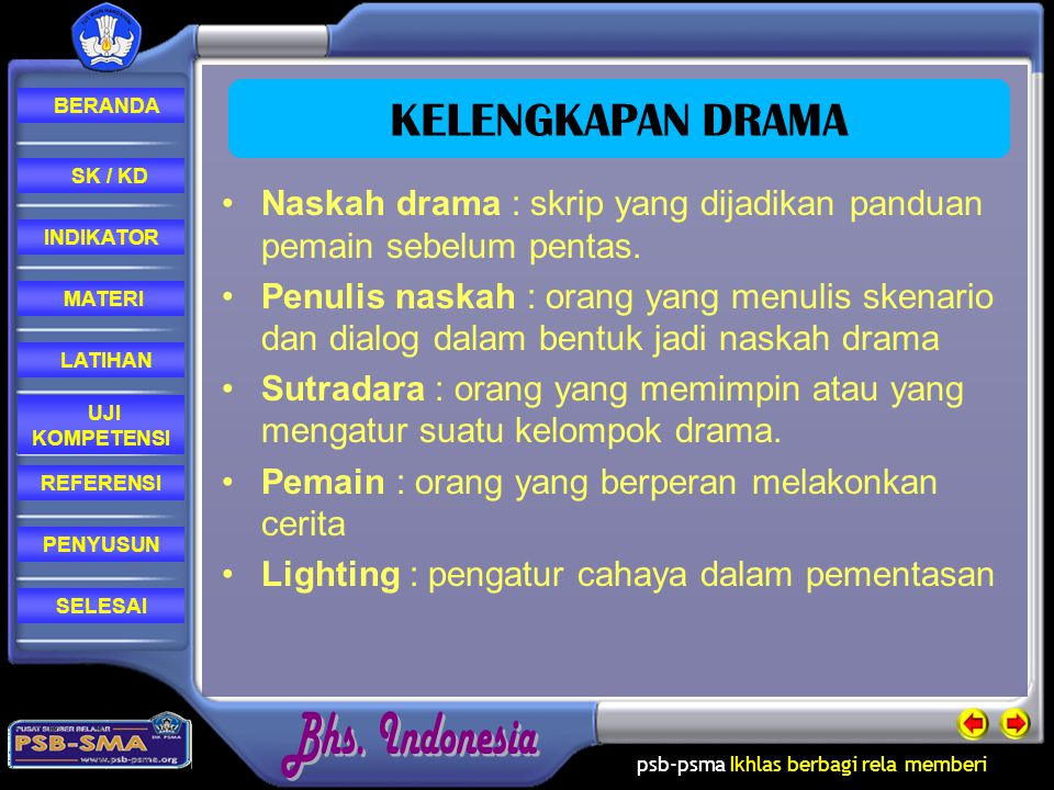KELENGKAPAN DRAMA Naskah drama : skrip yang dijadikan panduan pemain sebelum pentas.