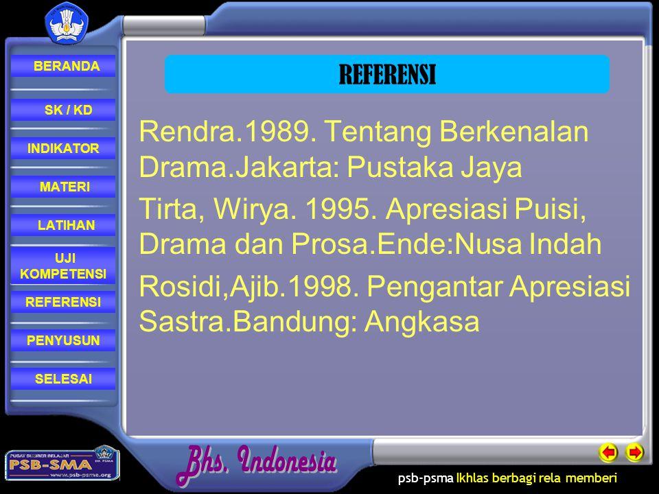 Rendra.1989. Tentang Berkenalan Drama.Jakarta: Pustaka Jaya