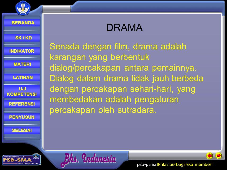 DRAMA Senada dengan film, drama adalah karangan yang berbentuk dialog/percakapan antara pemainnya.