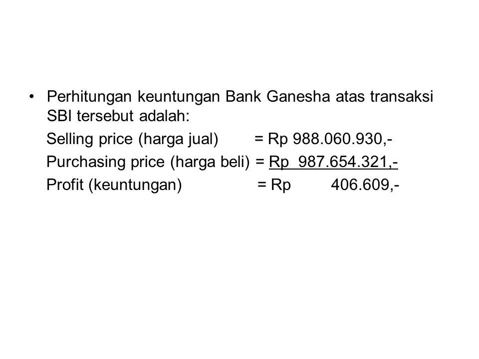 Perhitungan keuntungan Bank Ganesha atas transaksi SBI tersebut adalah: