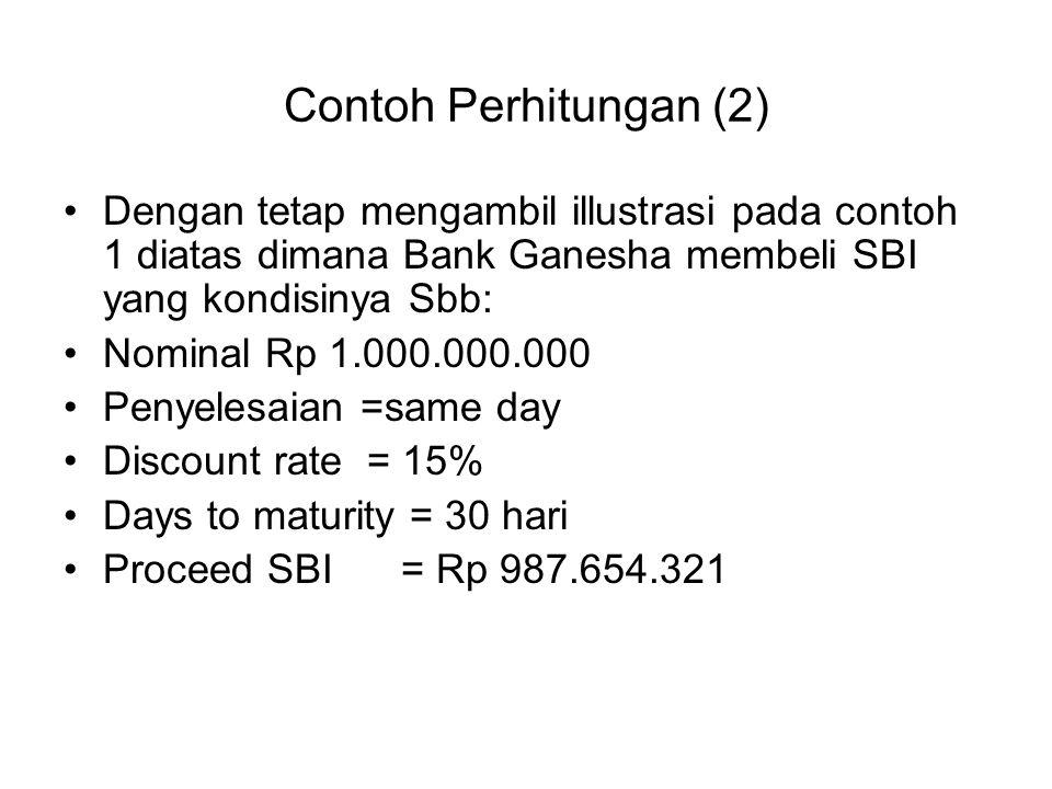 Contoh Perhitungan (2) Dengan tetap mengambil illustrasi pada contoh 1 diatas dimana Bank Ganesha membeli SBI yang kondisinya Sbb: