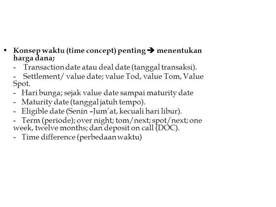 Konsep waktu (time concept) penting  menentukan harga dana;