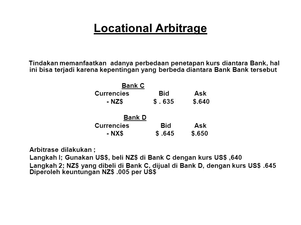 Locational Arbitrage Bank C Currencies Bid Ask - NZ$ $ . 635 $.640