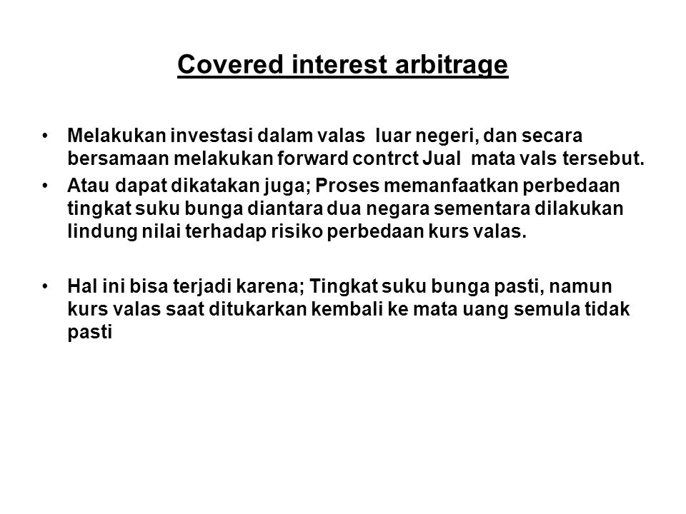 Covered interest arbitrage