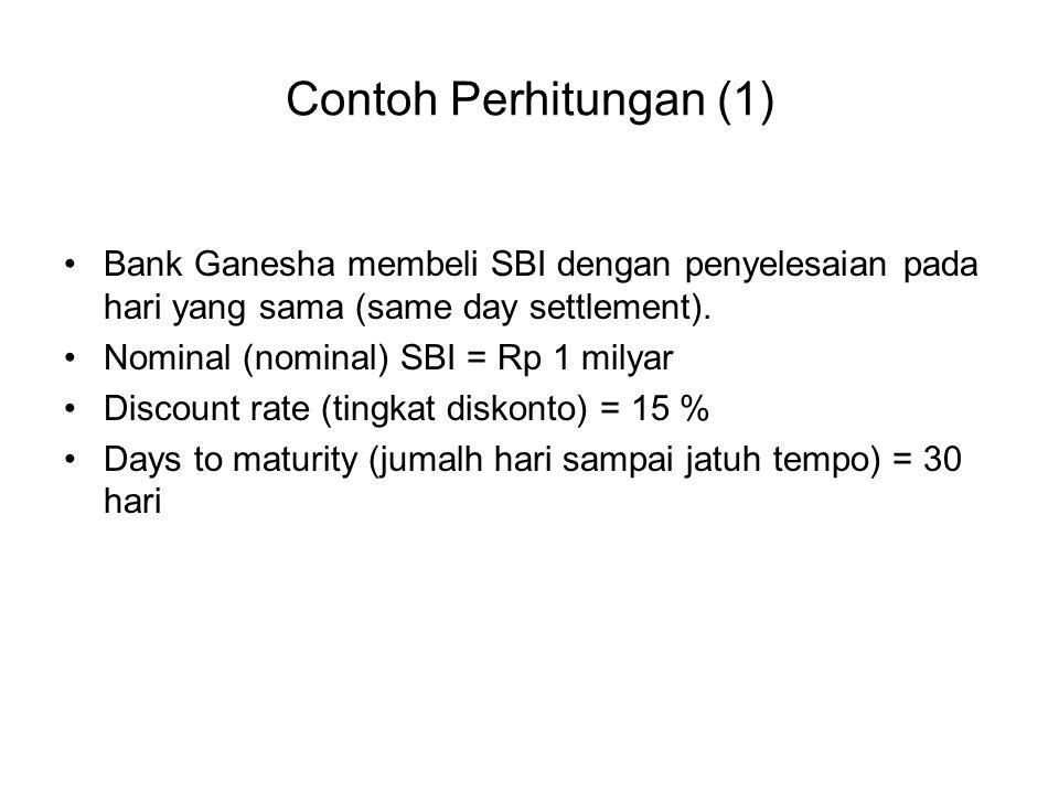 Contoh Perhitungan (1) Bank Ganesha membeli SBI dengan penyelesaian pada hari yang sama (same day settlement).