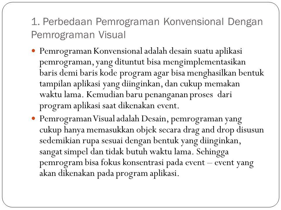 1. Perbedaan Pemrograman Konvensional Dengan Pemrograman Visual