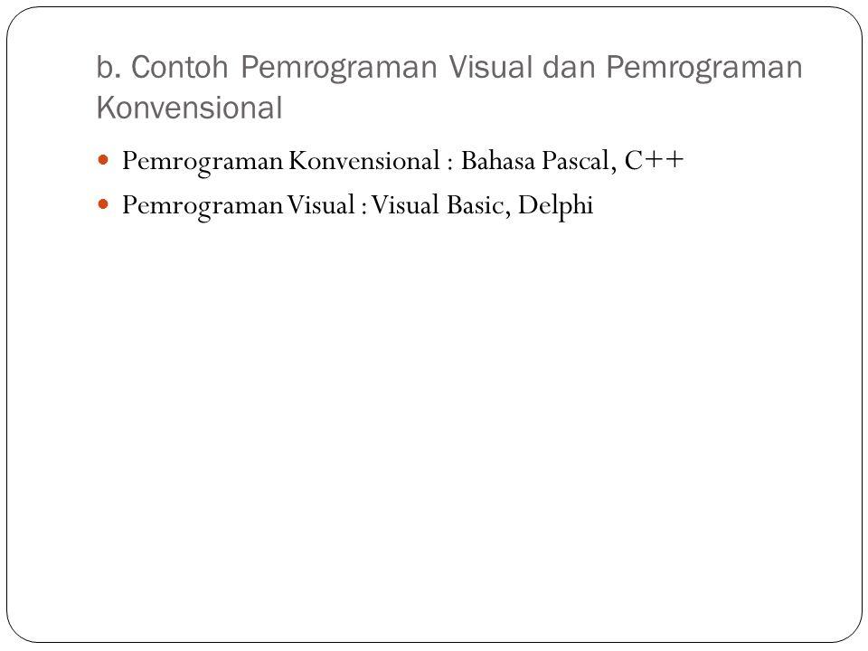 b. Contoh Pemrograman Visual dan Pemrograman Konvensional