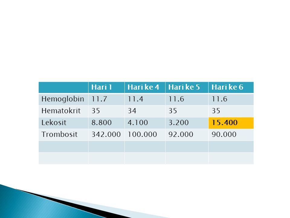 Hari 1 Hari ke 4. Hari ke 5. Hari ke 6. Hemoglobin. 11.7. 11.4. 11.6. Hematokrit. 35. 34. Lekosit.
