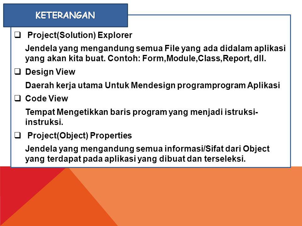 KETERANGAN Project(Solution) Explorer.