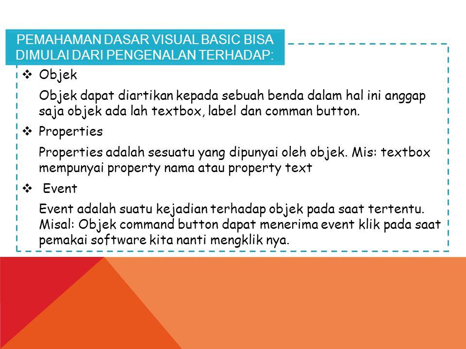 Pemahaman dasar visual basic bisa dimulai dari pengenalan terhadap: