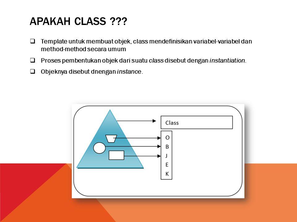 Apakah class Template untuk membuat objek, class mendefinisikan variabel-variabel dan method-method secara umum.