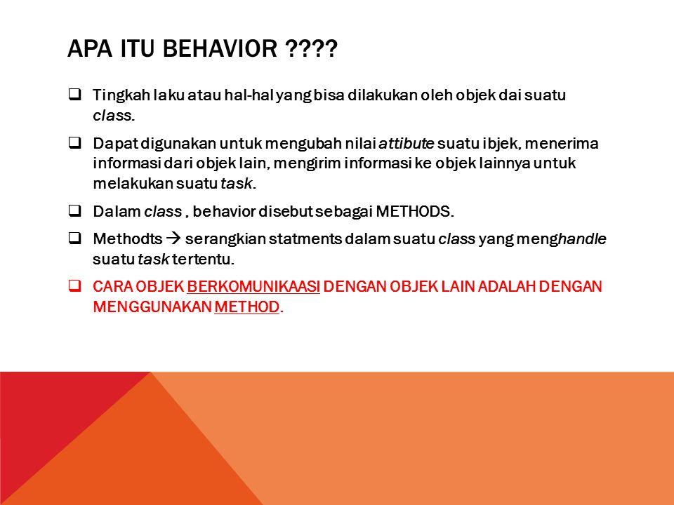 Apa itu behavior Tingkah laku atau hal-hal yang bisa dilakukan oleh objek dai suatu class.