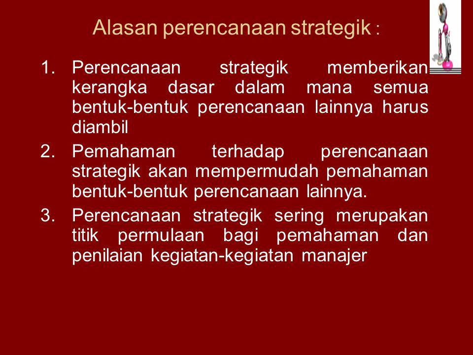 Alasan perencanaan strategik :