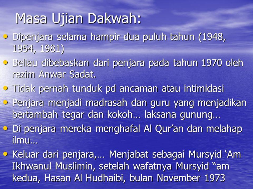 Masa Ujian Dakwah: Dipenjara selama hampir dua puluh tahun (1948, 1954, 1981) Beliau dibebaskan dari penjara pada tahun 1970 oleh rezim Anwar Sadat.